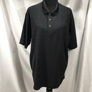 Grandslam Black Striped Polo Shirt